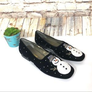 Michael Simon embellished beaded snowman shoes